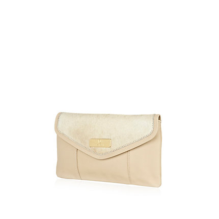 Cream pony skin envelope clutch bag