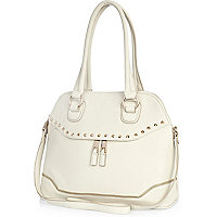 Cream zip front bag