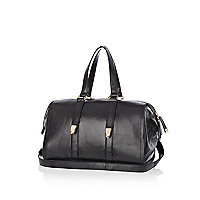 Black leather bowler bag