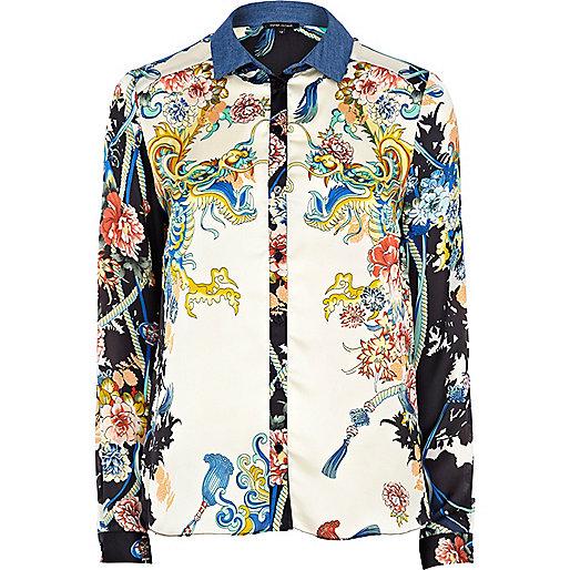 Black oriental print denim collar blouse