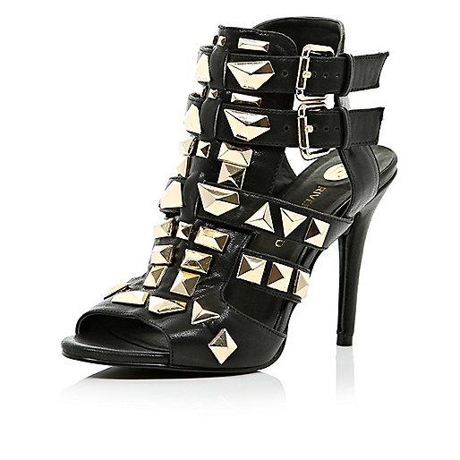 Black stud gladiator heels