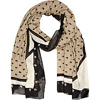 Beige and black skull print scarf