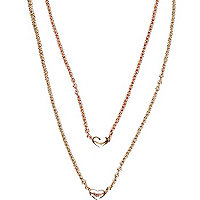 Gold tone heart pendant long necklace