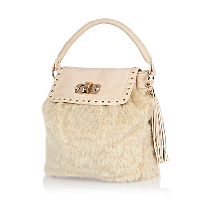 Cream faux fur panel bag