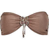 Brown Pacha metallic bandeau bikini top