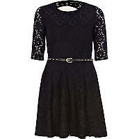 Black lace cut out back skater dress