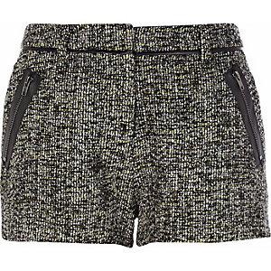 Lime marl tweed shorts