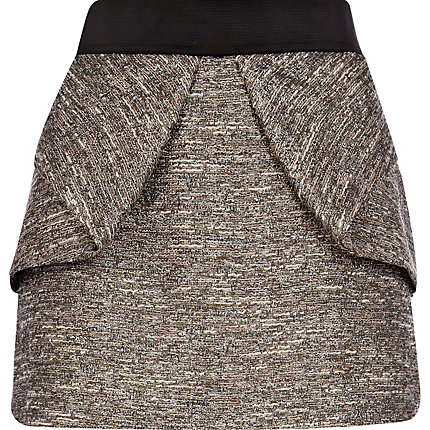 Silver tweed structured skirt