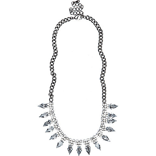 Silver tone diamante spike short necklace