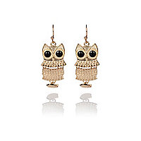 Gold articulated owl earrings