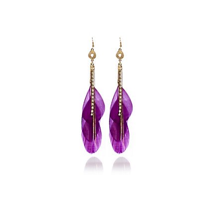 Purple feather knot drop earrings