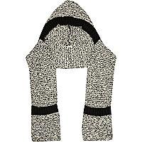 Black marl rib stitch hooded scarf