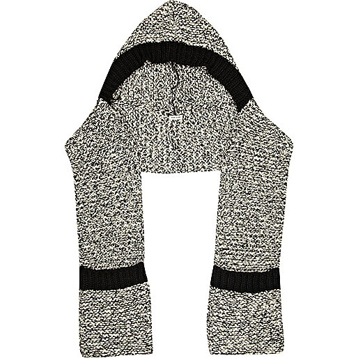 Black marl rib stitch hooded scarf