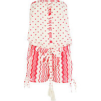 Pink and white polka dot playsuit