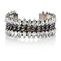 Silver tone spike diamante and chain cuff