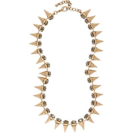 Gold tone spike diamante choker necklace