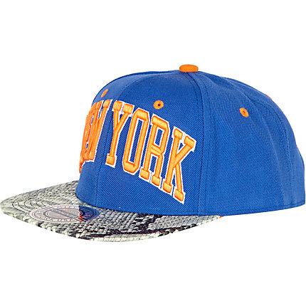 Blue and orange NY snakesin peak trucker hat