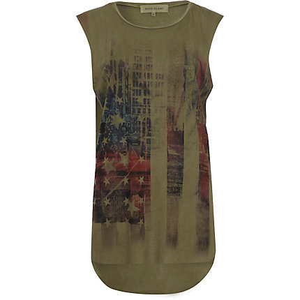 Khaki USA print overdyed tank top