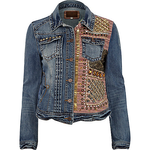 Blue half embellished stud denim jacket