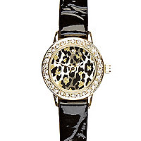 Black patent leopard print watch
