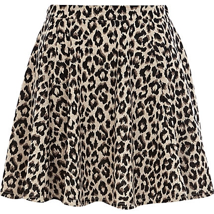 Brown leopard print skater skirt