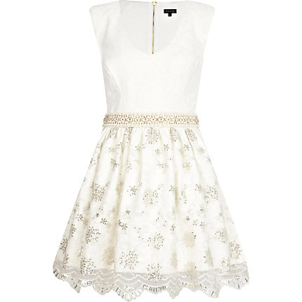 Cream jacquard and lace prom dress