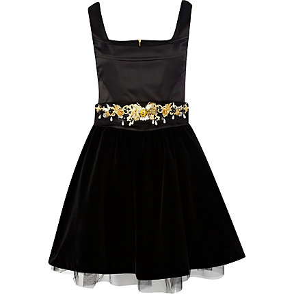 Black embellished velvet prom dress