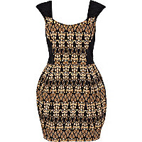 Black baroque stud structured mini dress