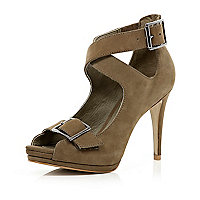 Beige strap high heel sandals