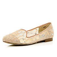 Pink lace diamante slipper shoes