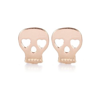Rose gold tone skull stud earrings