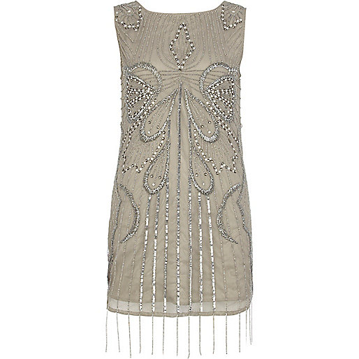 Grey embellished backless shift dress
