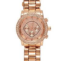 Rose gold tone diamante watch