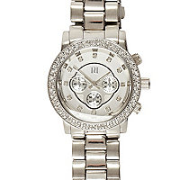 Silver tone diamante watch