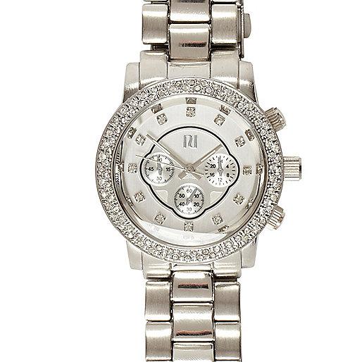 Silver tone rhinestone watch