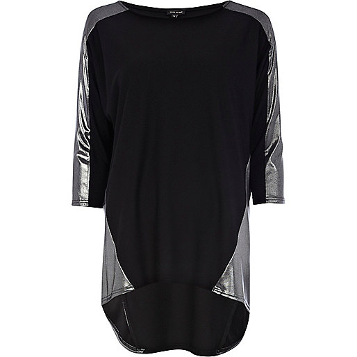 Black metallic panel t-shirt
