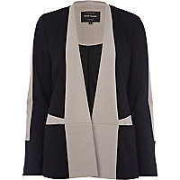 Black collarless colour black blazer