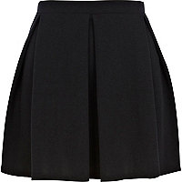 Black box pleat mini skater skirt