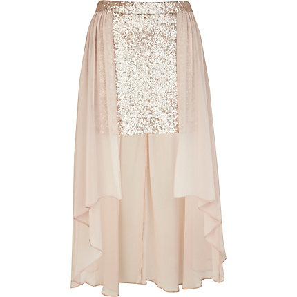 Light pink sequin maxi skirt
