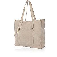 Light grey suede shopper bag