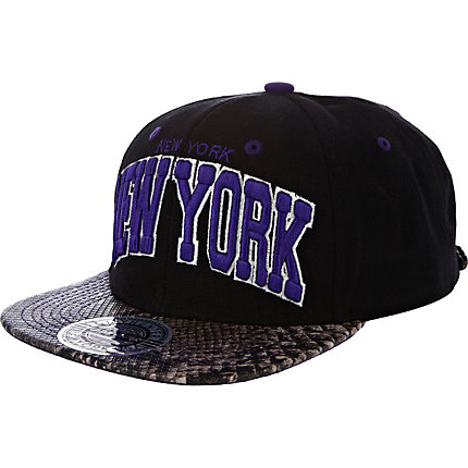 Dark purple and black NY print trucker hat