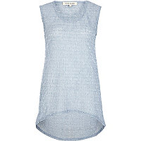Light blue eyelash textured longline top