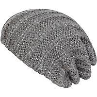 Grey rib beanie hat