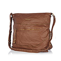 Brown zip oversized messenger bag