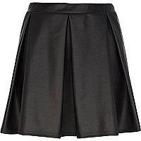 Black pleat coated skater skirt