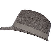 Grey marl felt peak trilby hat