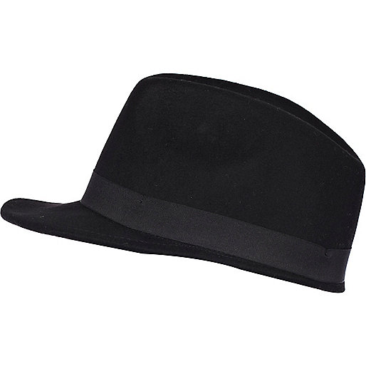 Black felt peak trilby hat