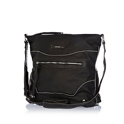 Black zip washed messenger bag