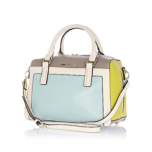Blue structured colour block bowler bag