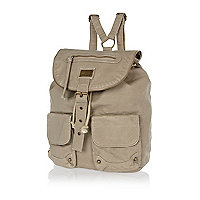 Grey zip washed rucksack